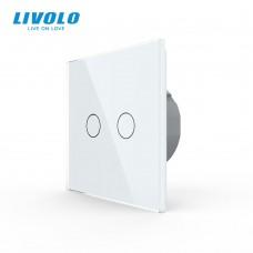 Выключатель сенсорный LIVOLO Touch Control Glass двуклав. бел