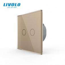 Выключатель сенсорный LIVOLO Touch Control Glass двуклав. зол