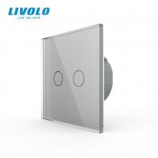 Выключатель сенсорный LIVOLO Touch Control Glass двуклав. сер