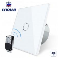 Выключатель сенсорный LIVOLO  (одноклав.бел) дист управление