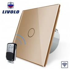 Выключатель сенсорный LIVOLO (одноклав.зол) дист управление