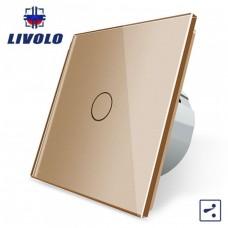 Выключатель сенсорный LIVOLO  (одноклав.зол) проходной