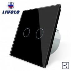 Выключатель сенсорный LIVOLO  (двуклав.чер) проходной