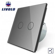Выключатель сенсорный LIVOLO  (двуклав.сер) проходной