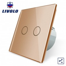 Выключатель сенсорный LIVOLO  (двуклав.зол) проходной